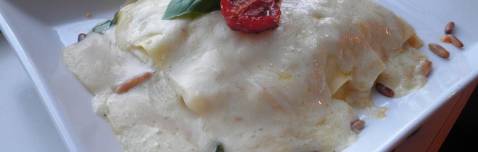 Åben tomatlasagne / vegetarlasagne