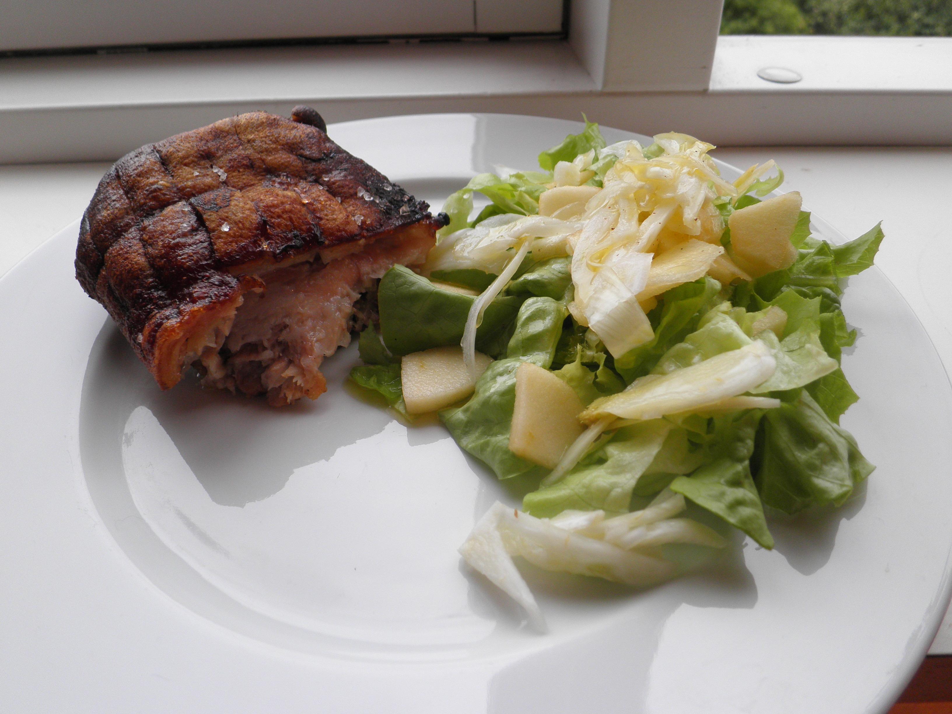 Svineskank med æble og fennikelsalat | Love food love cooking