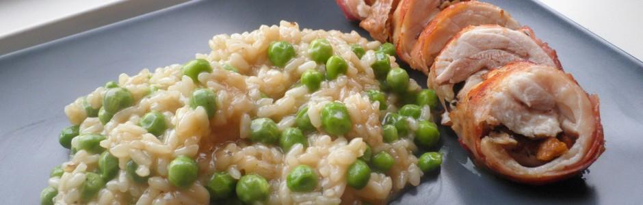 Kylling ballotine / kyllingeruller med ærte-risotto