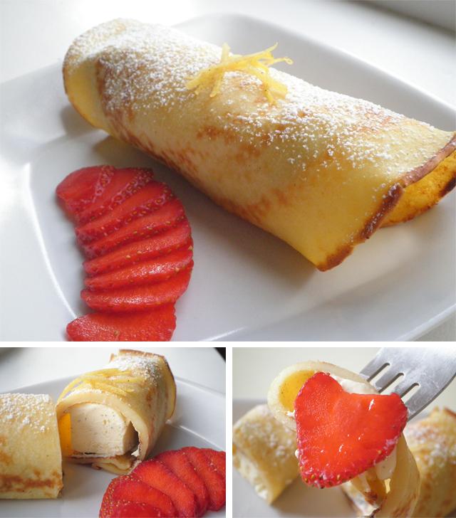pandekage med citronskal, vaniljeis / parfait og jordbær