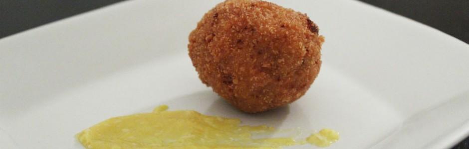 Arancini med and og appelsin-curd. Moderne julemad med and på en ny måde.