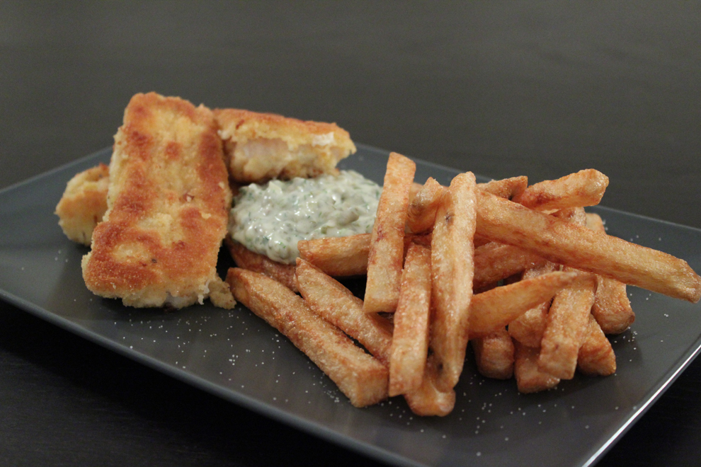 Fish and chips med tartare sauce Cook time 90 min.